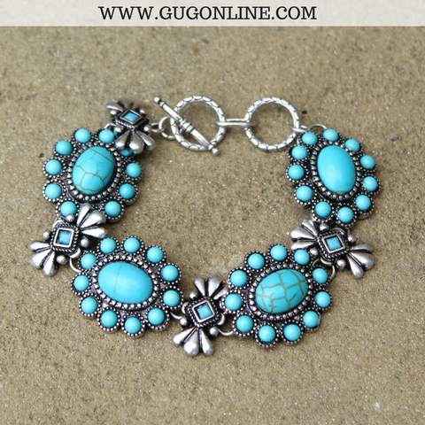 Oval Turquoise Flower and Silver Bracelet
