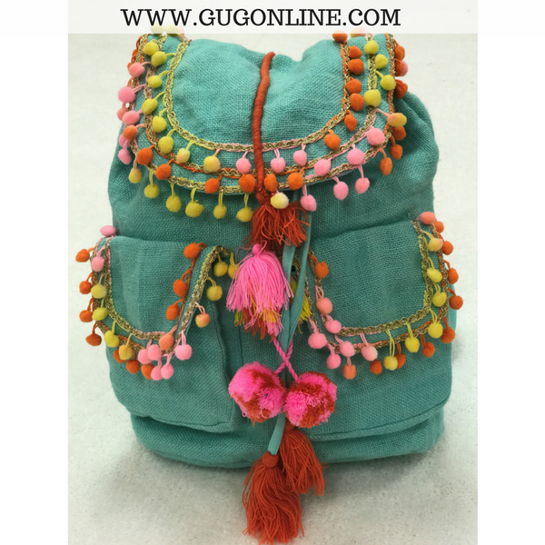 The Lauren Backpack - Mint with Pom Pom Details