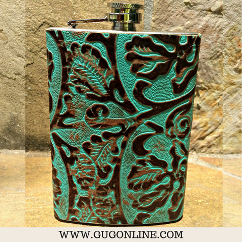 Turquoise and Brown Swirl Flask
