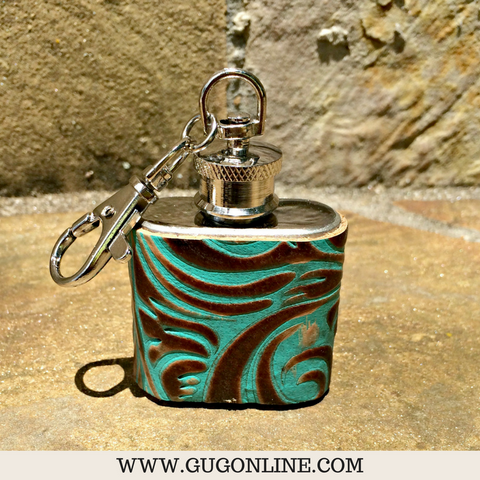 Mini Turquoise and Brown Swirl Key Chain Flask