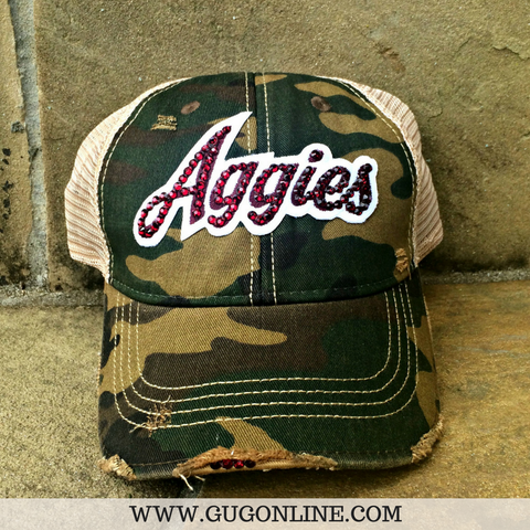Aggies in Maroon Swarovski Crystals on Camo and Tan Baseball Cap