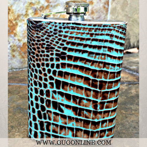 Turquoise and Brown Gator Flask