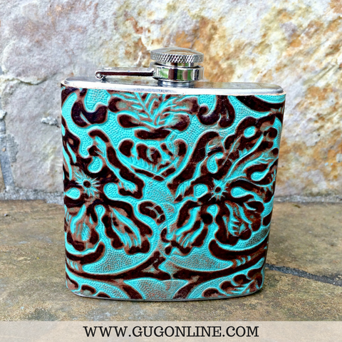 Turquoise and Brown Small Flask