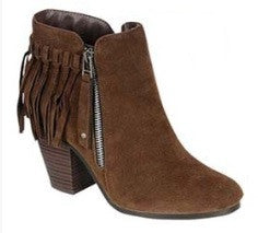 Fringe Ankle Zipper Bootie in Brown