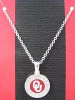 Colliegiate Jewelry - OU Necklace with Crystals