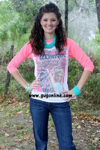 """Oh Crap, She is Up!"" Neon Pink Baseball Tee"