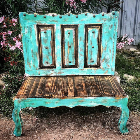 Rustic Handmade Hacienda Old Door Style Bench
