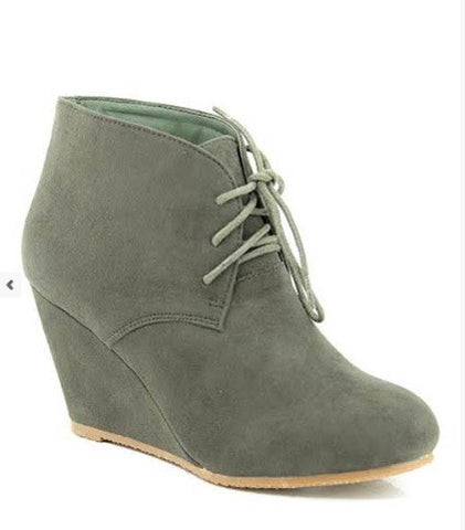 Lace Up Olive Wedge Bootie