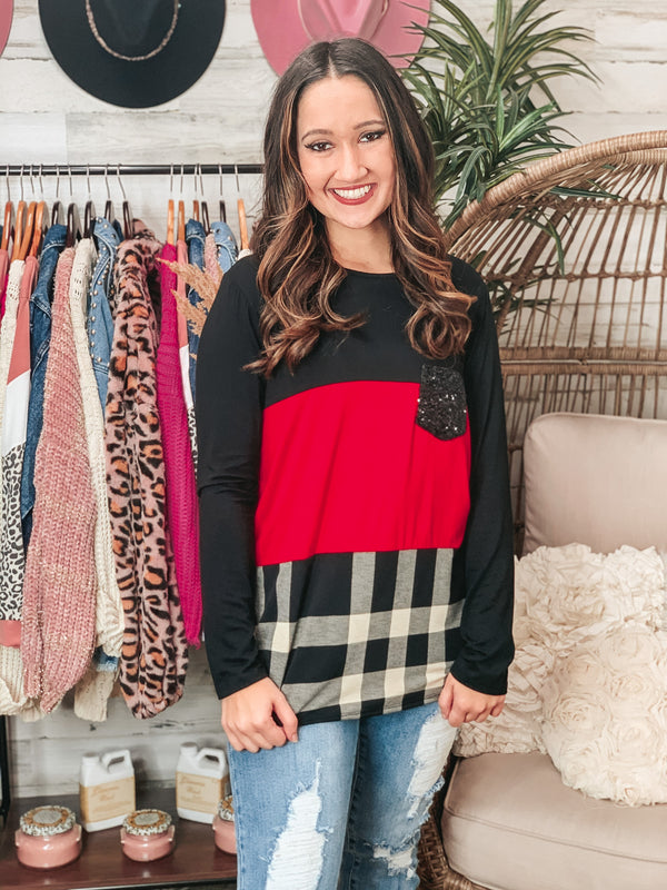 PINK FRIDAY | Look At Me Now Plaid Color Block Long Sleeve Top with Sequin Pocket in Red