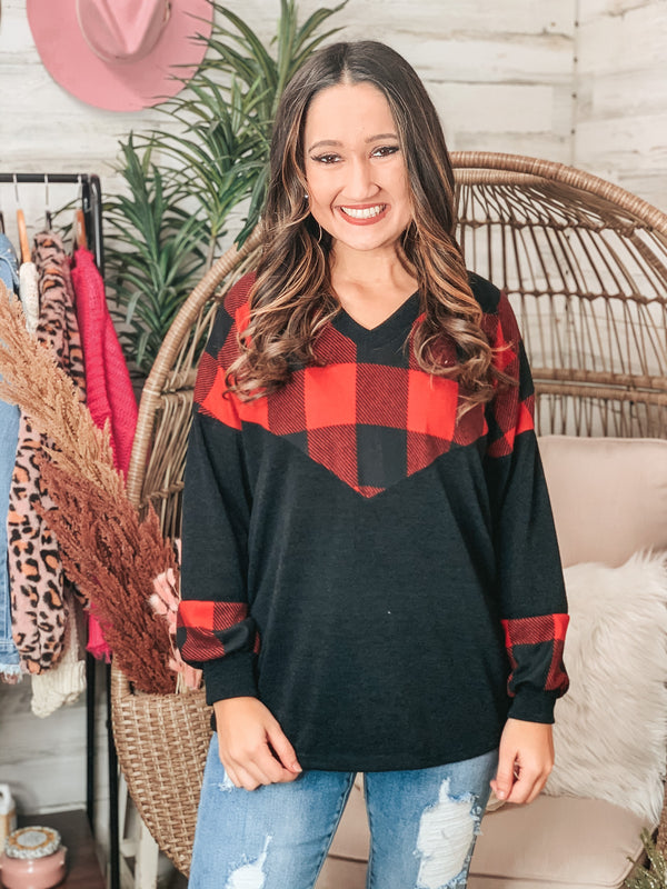 PINK FRIDAY | All Wrapped Up Buffalo Plaid Upper Long Sleeve Top in Black