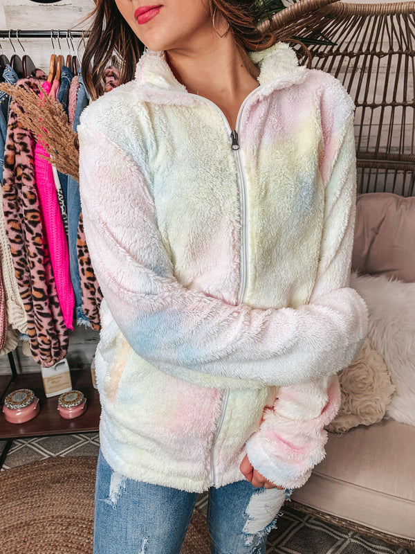 PINK FRIDAY | Feeling Bright Tie Dye Zip Up Sherpa Jacket in Pastel Multi