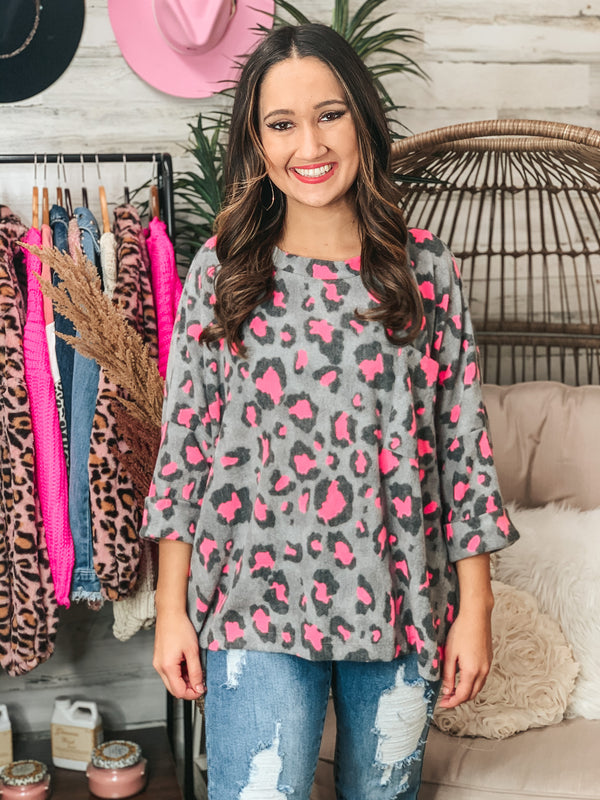 PINK FRIDAY | On Second Thought Neon Pink Leopard Drop Sleeve Waffle Knit Pocket Top in Grey