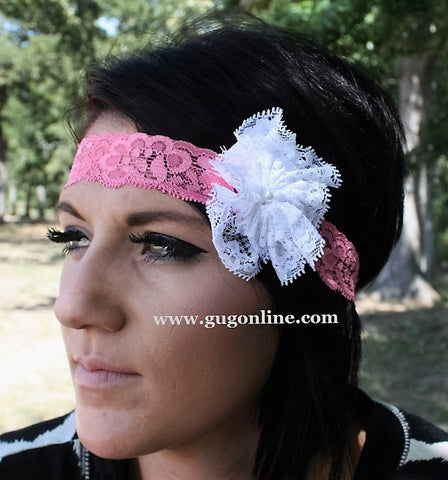 Pink Lace Headband with White Lace Flower
