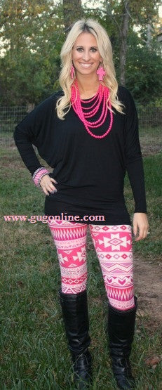 Pink and White Aztec Leggings