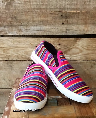 Somewhere Down in Mexico Serape Slip Ons in Pink