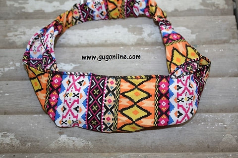 Pink and Orange Aztec Headband