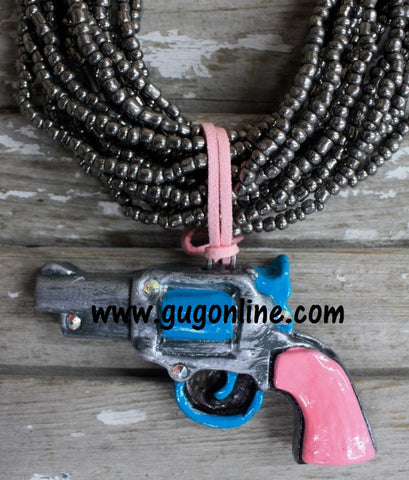 Pistol Pendant in Pink and Turquoise