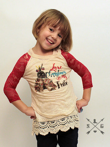 Childrens: Love Christmas With My Tribe Baseball Tee with Red Lace Sleeves
