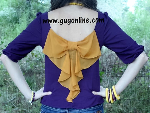 Quarterbacks' Girlfriend Bow Back Top in Purple