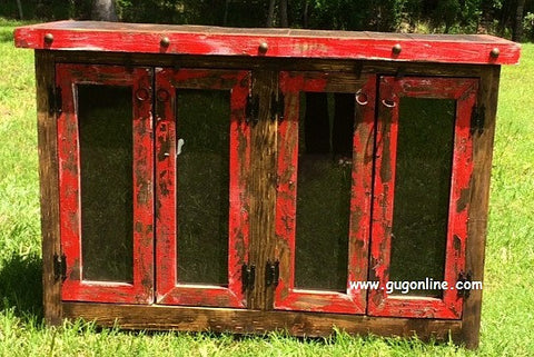 Handmade Rio Grande Rustic Red Four Glass Door Buffet