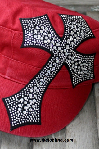 Red Cadet with Black Rhinestone Cross
