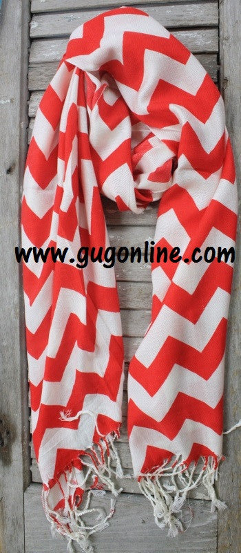 Red Chevron Pashmina Scarf