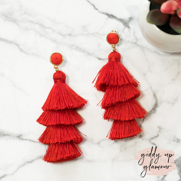 fun and flirty fast fashion long layered fringed tassel earrings with treaded top in red on post back with gold accents
