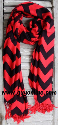 Red and Black Chevron Pashmina Scarf