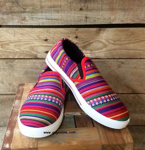 Somewhere Down in Mexico Serape Slip Ons in Red