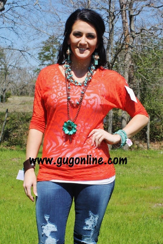 Rust Animal Print Simple Tunic