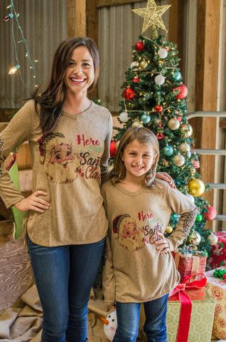 Kids Here Comes Santa Claus Holiday Shirt