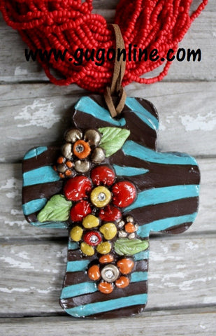 Safari Chic Turquoise and Brown Pendant
