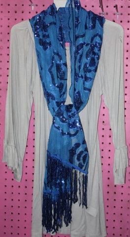 Blue Rose Print Sequin Scarf