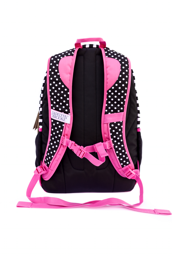 Pretty and Pink Polka Dot and Stripe Back Pack with Pink Trim