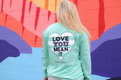 Love You Mean It Long Sleeve Tee Shirt in Mint