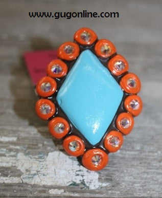 Seminole in Orange and Turquoise Ring