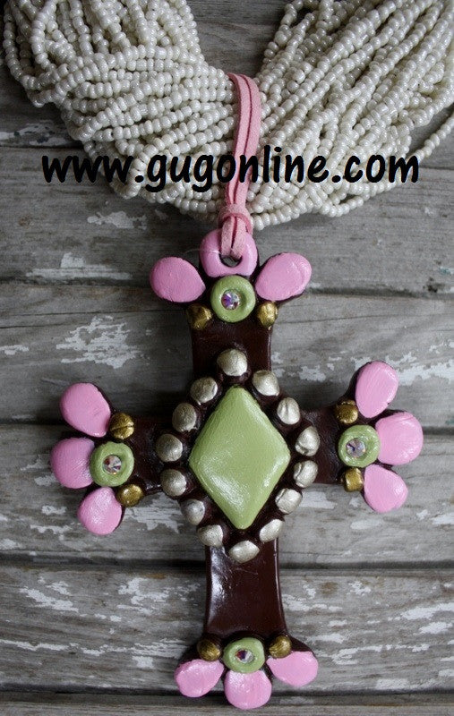 Trendy Boho Handmade Polymer Clay Cross Pendants Hippie Jewelry