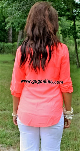 Sheerly Amazing Neon Coral Top