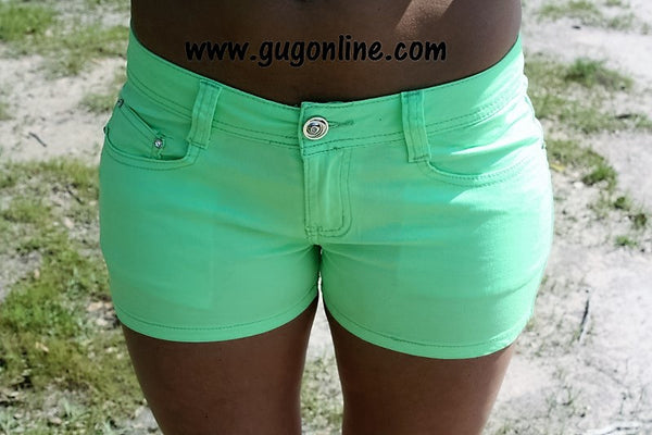 She's a Free Spirit Shorts in Neon Green