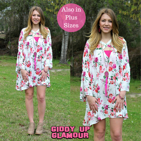 Got Me Twisted Pink Floral Print Trapeze Dress