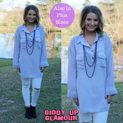 All In Favor Long Sleeve Tunic in Lavender