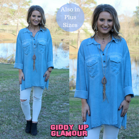 All In Favor Long Sleeve Tunic in Blue