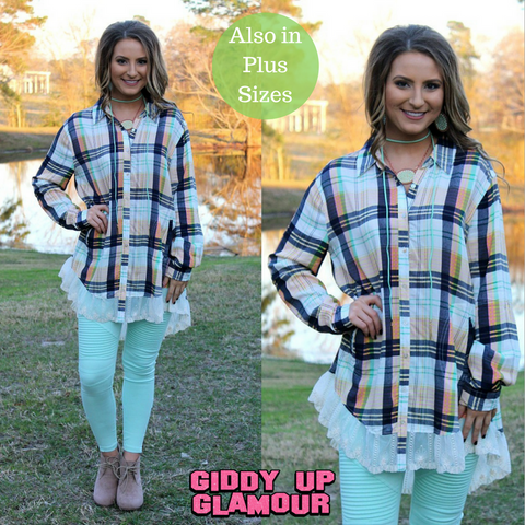 Your Sweet Smile Plaid Button Up with Lace in Green & Navy