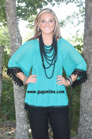 Southern Grace Sheer Top in Jade with Black Lace Trim