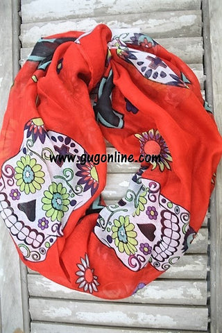 Sugar Skull and Cross Infinity Scarf in Red