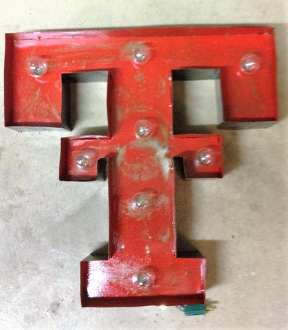 Lighted Rustic Texas Tech Handmade Sign