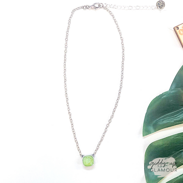 Pink Panache | Silver Chain Necklace with Cushion Cut Crystal in Lime
