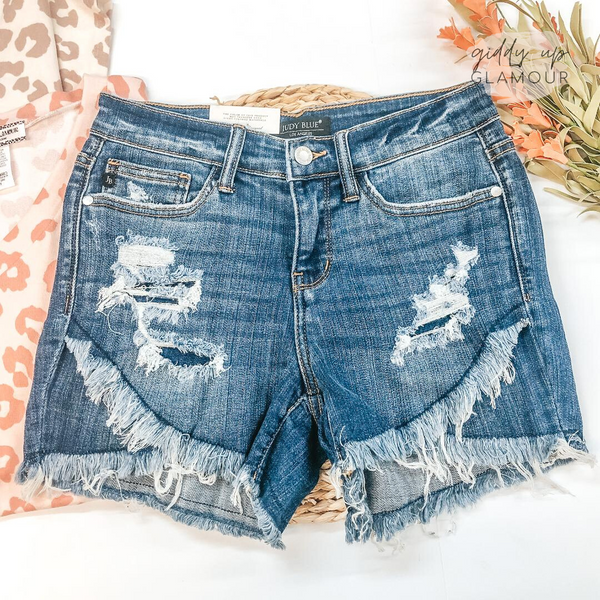 Judy Blue | Catch Me Later Distressed Denim Tulip Shorts with Split Hem in Dark Wash