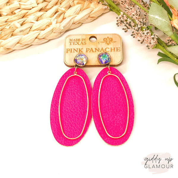 Pink Panache | Cushion Cut, Leather & Gold Accent Earrings in Fuchsia