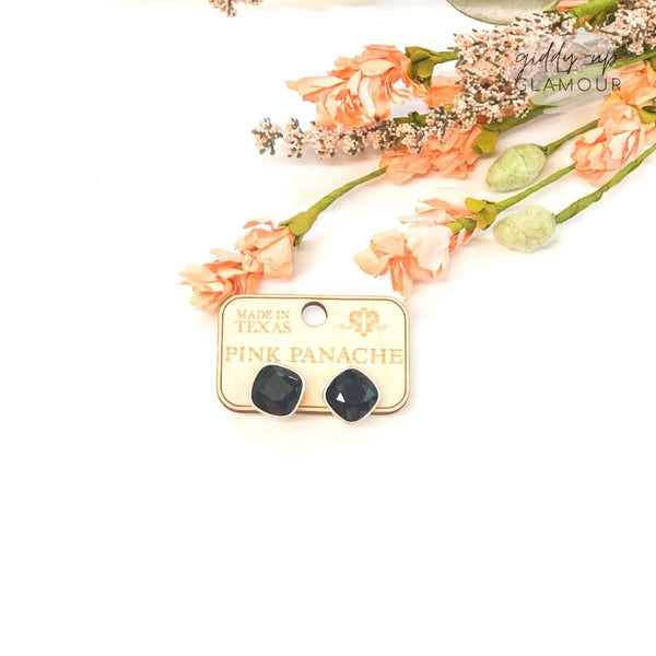 Pink Panache | Silver Stud Earrings with Cushion Cut Crystals in Black